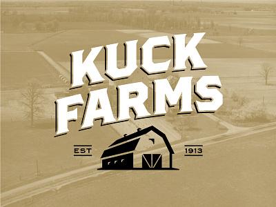 Kuck Farms identity logo type typography icon building farming farm barn
