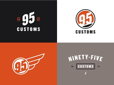 95 Customs bolt wing branding culture motor identity logo badge garage automotive customs