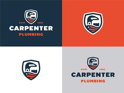 Carpenter Plumbing Logo wrench usa america flag brand plumbing badge logo