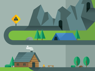 Journey Map illustration infographic flat mountains tree cabin map