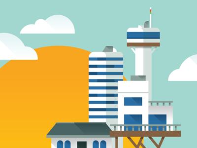 Journey Map design infographic illustration clouds sun city buildings