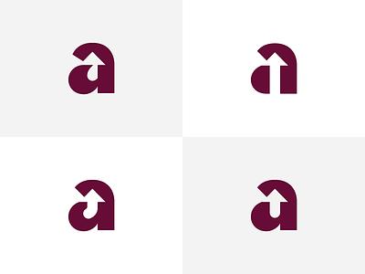 Give my 'a' some feedback mark brand options arrow monogram negative space logo a