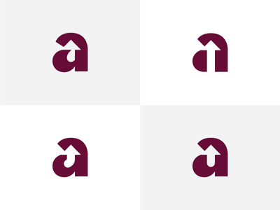 Give my 'a' some feedback mark brand options arrow monogram negative space logo a