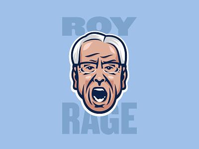 Angry Coaches: Roy basketball tar heels north carolina head face illustration madness march ncaa coach