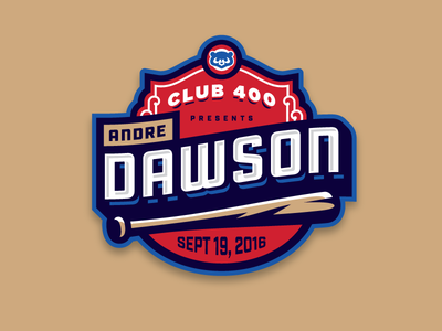 Andre Dawson Event custom type mlb badge logo bat baseball chicago cubs