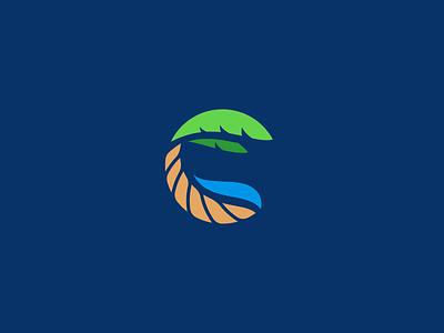 C is for Coastal monogram beach coast tree water icon badge logo palm tree c coastal