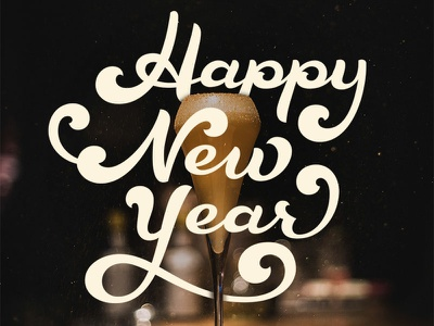 Happy New Year champagne happy new year vector sports hand lettering custom type typography