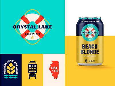 Crystal Lake Brewing waves life preserver wheat beer can illinois lake identity packaging beer branding