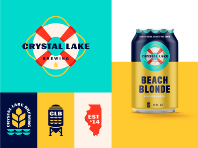 Crystal Lake Brewing waves life preserver wheat beer can illinois lake identity packaging beer branding