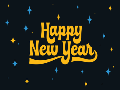 Happy New Year party logo type design serif script wordmark lettering stars new years eve happy new year hand lettering type
