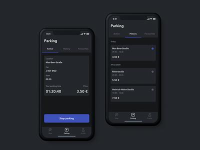 parkly app account car user interface profiles night mode parking app mobile ios ui ux