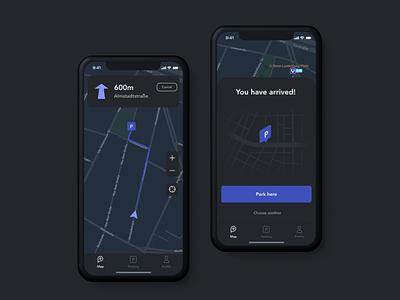 parkly app car parking navigation profile car parking night mode ios mobile user interface ux ui