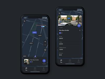 parkly app car navigation profile user interface parking night mode mobile ios car ux ui