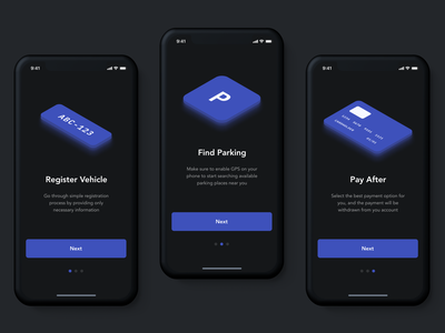 parkly app onboarding car payment onboarding isometric illustration app user interface parking night mode mobile ios ux ui