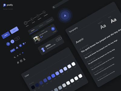 parkly app design system components app mobile styleguide design system user interface night mode ux ui