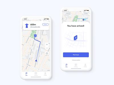 parkly app car parking confirmation user interface navigation app design app parking ios car ux ui