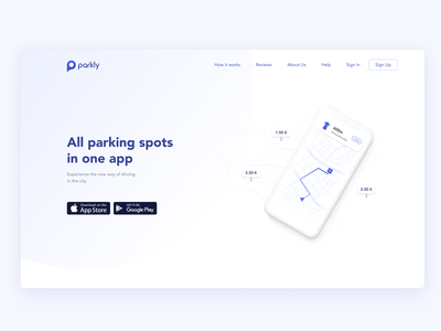 parkly app landing page preview product page mobile app landing page mobile car navigation app design user interface app ux ui