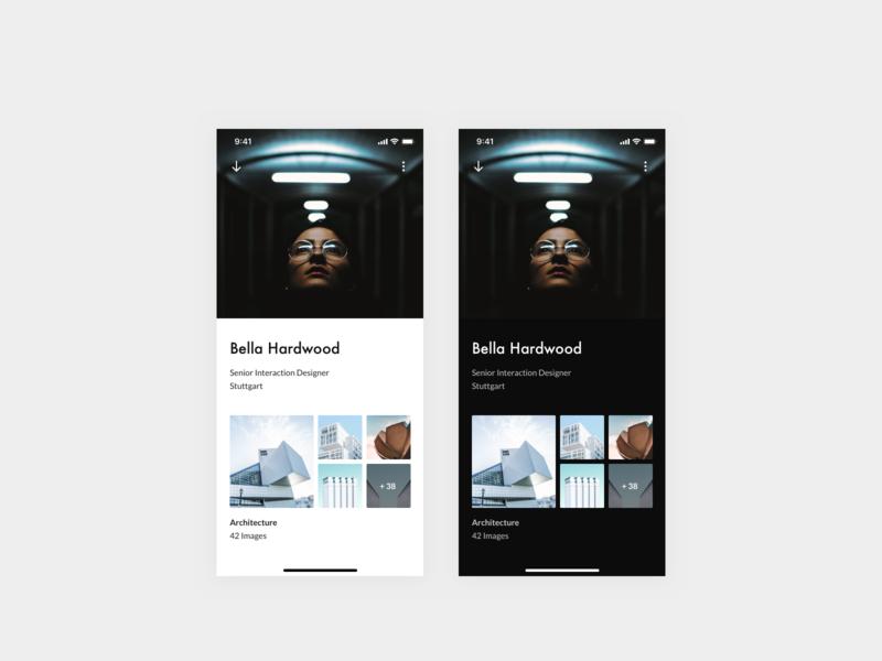 Daily UI 006 — User Profile light mode dark mode design system profile user profile app design uidesign daily ui design dailyui ui interface app clean