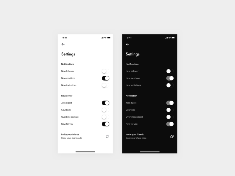 Daily UI 007 — Settings Page switch toggle light mode dark mode design system daily ui typography icon design dailyui interface app clean ui settings page settings ui settings