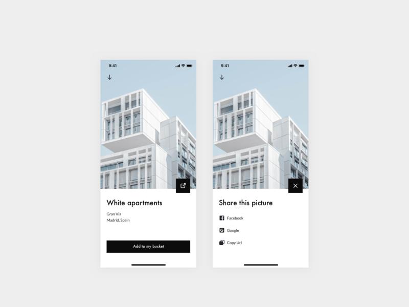 010 — Social share button bauhaus icon design design system ui app interface clean daily ui daily ui 010 dailyui