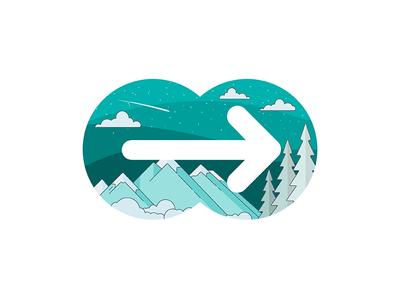 moovel logo illustration forward snow mountains winter app mobility moovel illustration logo