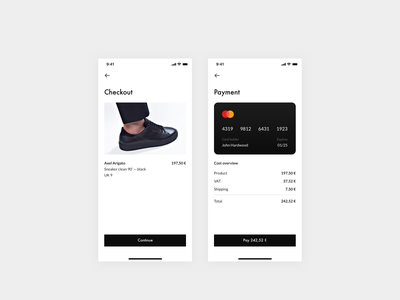 Daily UI 002 — Credit card checkout screen checkout payment mastercard sneaker axel arigato design system clean ui daily ui app design app interface 002 dailyui 002 dailyui