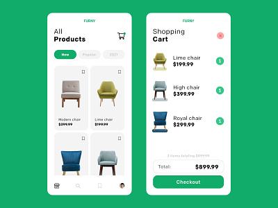 Innovative Furniture App UI Design app designer ui design innovative furniture green app design app icon typography ux minimal logo flat design