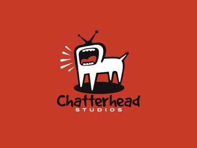 Chatterhead brandcrowd studio antennas games company white dog barking animal logo big mouth games tv chatterhead canada