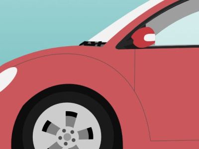 Pink Buggy bug car vector
