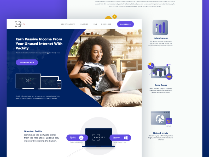 Packity Designs Iteration bandwidth earning money vps hosting vpn internet illustration network homepage website design webdesign uiux mobile ui