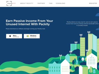 Packity Designs Iteration 2 course influence illustration iteration mobile app web design sharing internet earning bandwidth network hero