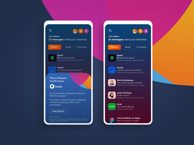 Emaill App Concept uiuxdesign internet design ui design mobile uiux ui email