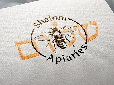 Shalom Apiaries Logo logo hebrew orange honey shalom bee