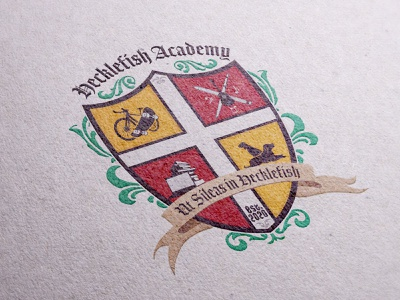 Academy Crest school art dogs books bike crest