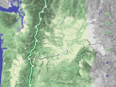 A new map hiking trail blur map