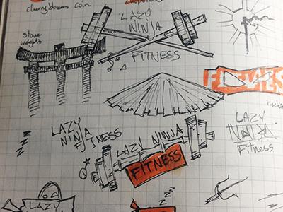 Lazy Ninja Logo katana bamboo dumbbells wip logo ninja lazy