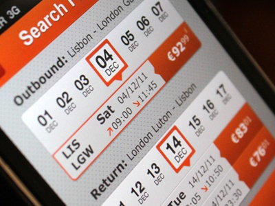 Search flight search booking date calendar easyjet departure landing
