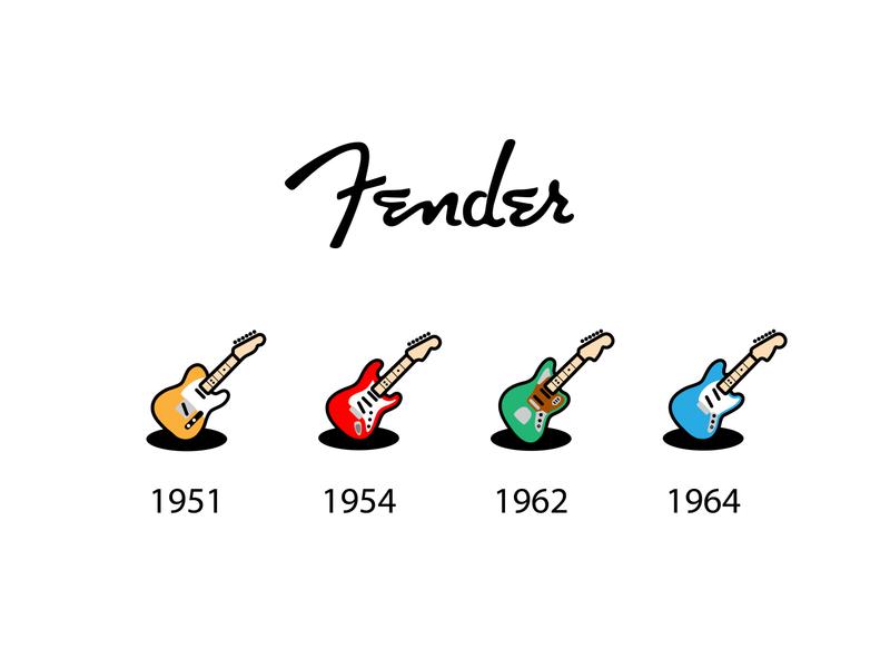 Fender icons vector logo illustrator mustang jaguar telecaster stratocaster icon gitar fender