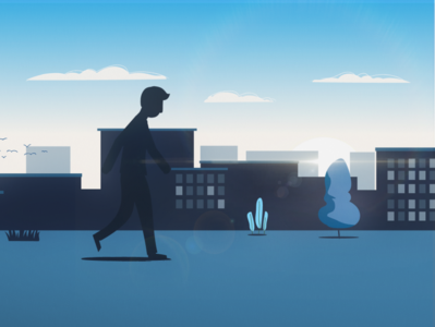Styleframe Volkswagen illustration illustrator tones blue monochromatic minimal styleframe simple vector character sillhouette