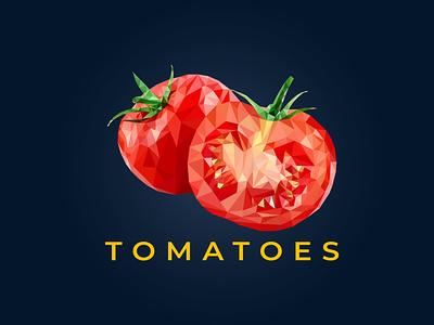 Tomatoes Polygonal logo graphic design branding unique low logo geometric logo polygonal logo logo design polygon logo polygon