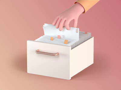 ProtoPie's Drawer finger3d finger stationery folder drawer animation video motiongraphic creative design