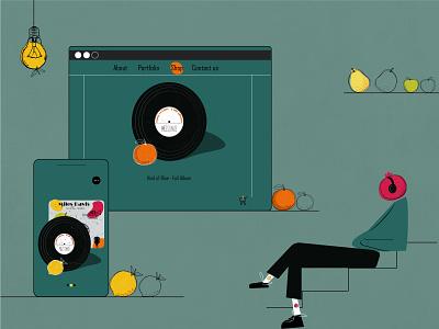 Juicy music juicy fruit ux branding ui design boy art illustration graphic design digital