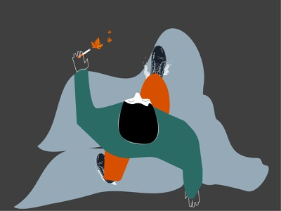 Autumn walk rain autmn ui logo boy design art illustration graphic design digital