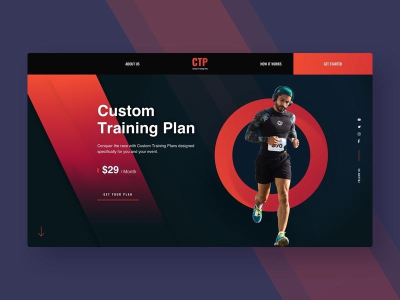 Fitness Training Plan Hero event marathon running visual design fitness app ctp custom training plan fitness plan fitness club fitness dark portfolio web agency design interface minimal typography ux ui