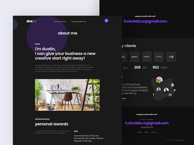 About Me portfolio me brand fusionlab about dustin ux ui designer hire designer hire website design website client profile personal profile personal about us about me