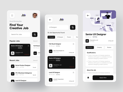 Job Finder App Design minimal design tiktok linkedin ux uber mobile jobs list job app jobs job finder ios app freelance filters job search creative job designer jobs application app design app concept app