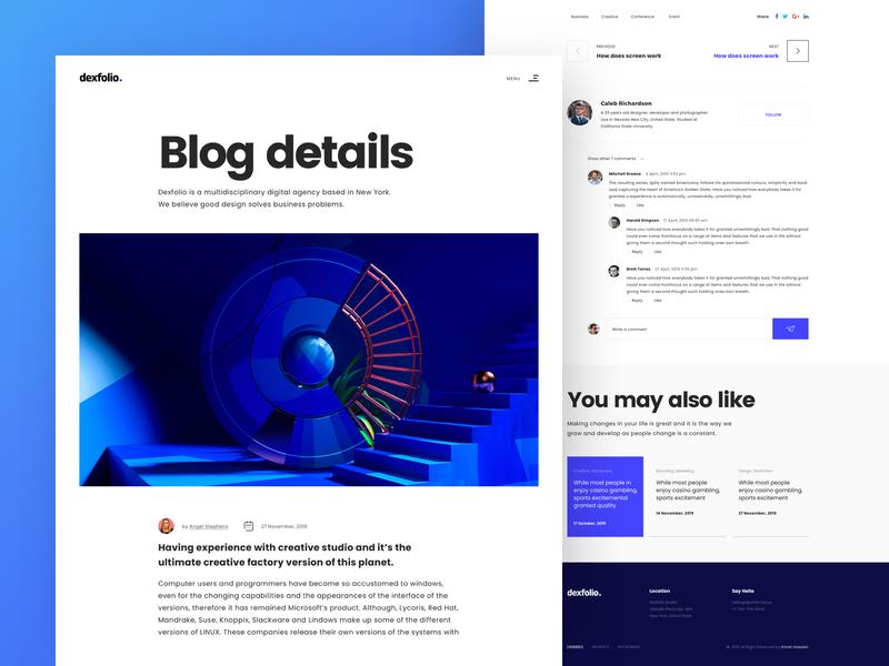 Blog Details Page ux ui website promote portfolio landing page minimal typography interface details design content blog details page blog details blog page blog design blog post blogging blogger blog