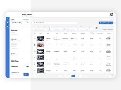 Car Inventory Management ux design website ui design web platform product design web ui design ux