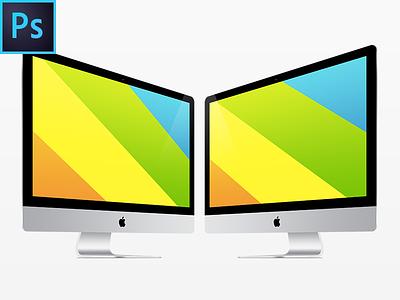 New iMac FREE PSD Vector Template apple imac freebie free template mockup psd device ios 8 screen p-px