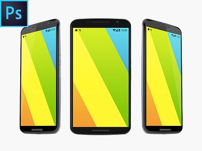 Nexus 6 Free Vector PSD MockUp motorolla nexus 6 freebie free template mockup psd device android 5 screen p-px